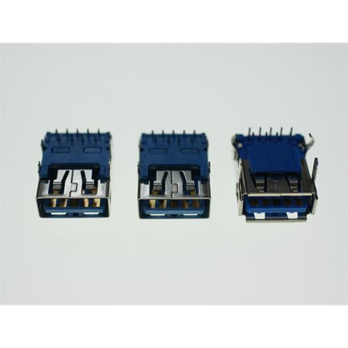 USB 3.0 A Type Single Port Receptacle Right Angle, Dip Type, 2 Pairs of Solder Dips